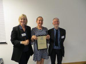 Dr Alison Whybrow receiving her ISCP Fellowship Award, 12th October, 2018
