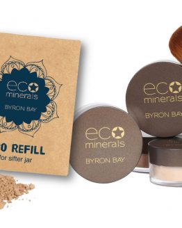 Viser produkt pakning, refillpose og sminkekost