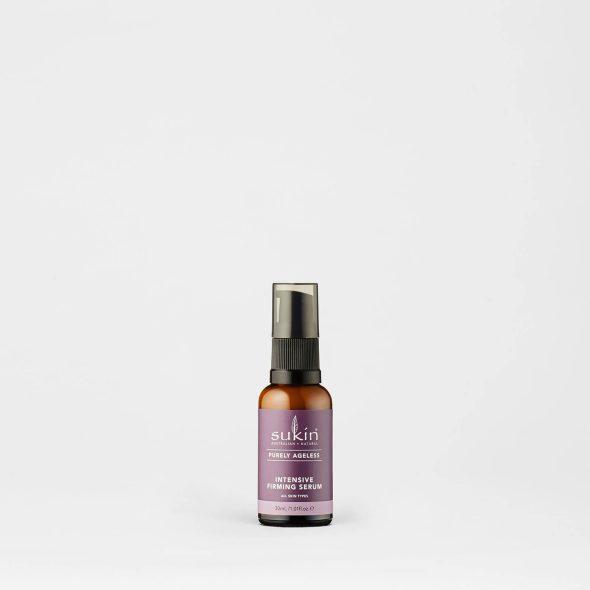 Viser en praktisk spray flaske med Intensive Firming Spray fra Sukin
