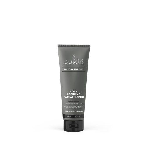 Viser svart tube med Pore Refining Facial Scrub fra Sukin
