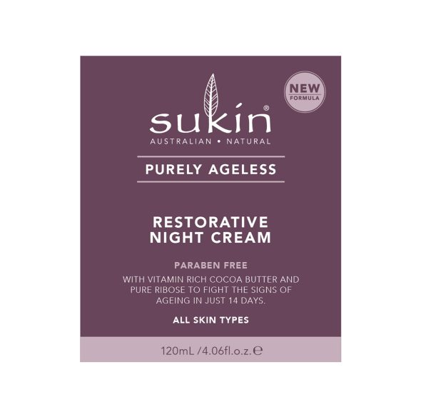 Viser lilla eske som holder krukke med Restorative Night Cream fra Sukin
