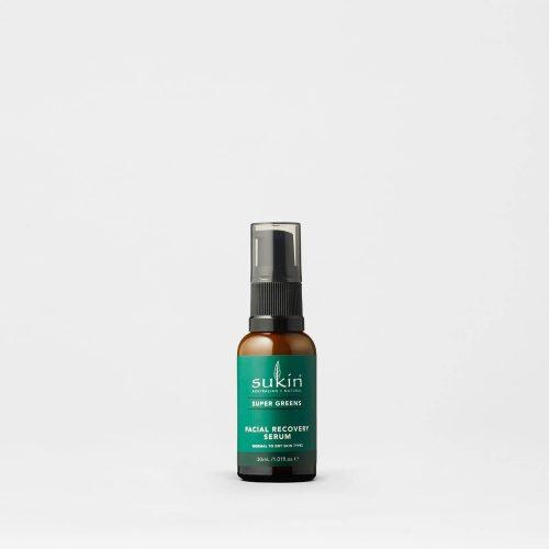 Viser pumpeflaske med Facial Recovery Serum fra Sukin