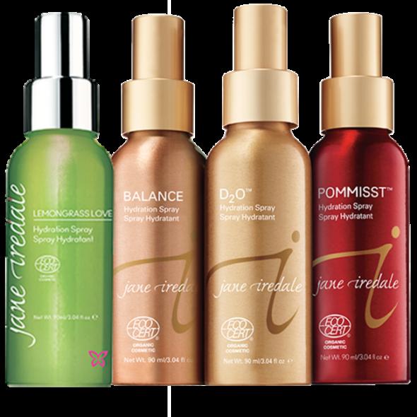 Viser 4 forskjellige spray flasker med Hydration Spray fra Jane Iredale