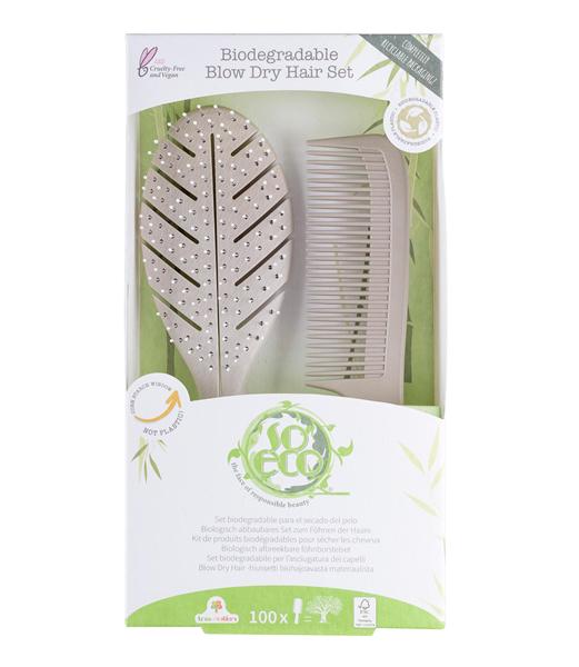 Viser blow dry hair set fra So Eco i pakning
