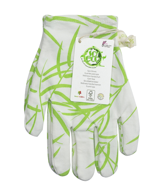 Viser hvite hanske med grønne pyntet blad detaljer