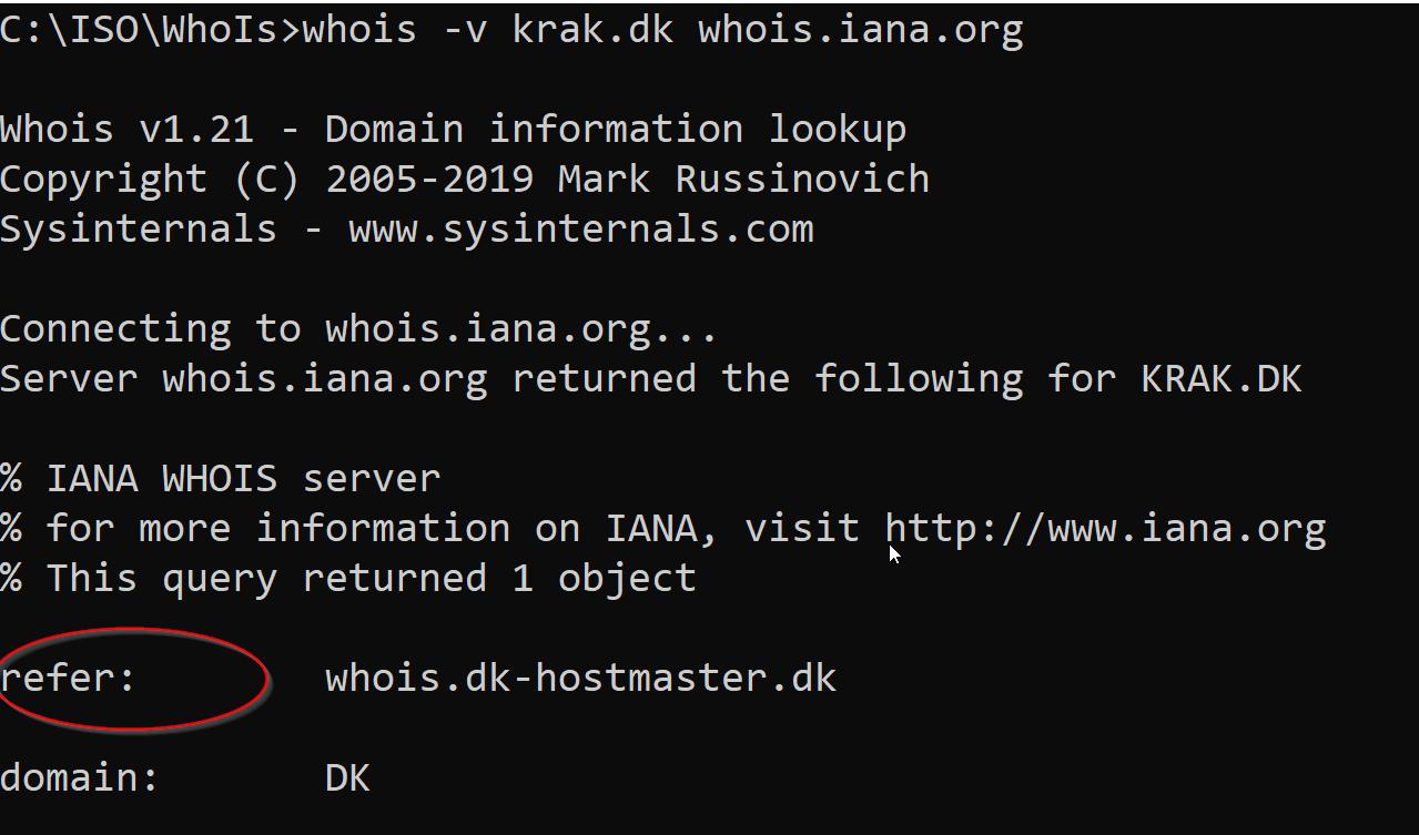 DNS whois refer dk