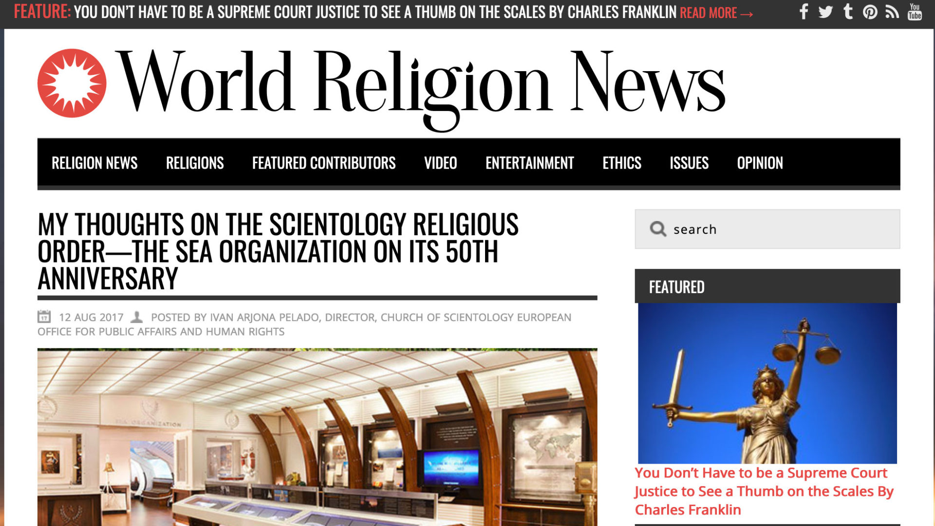 My Thoughts on the Scientology Religious Order—the Sea Organization on its 50th Anniversary - World Religion News IVAN ARJONA PELADO