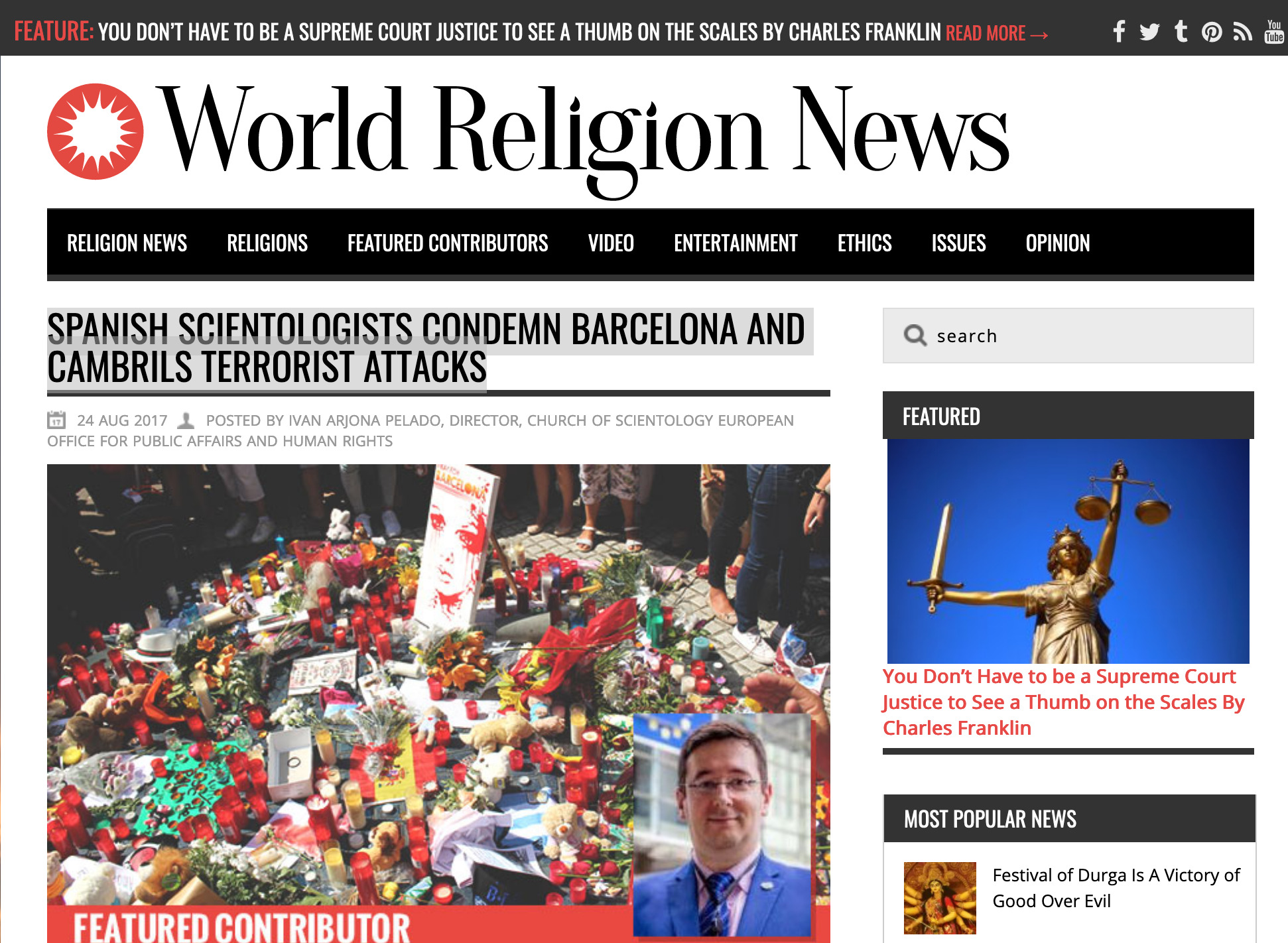 Spanish Scientologists Condemn Barcelona and Cambrils Terrorist Attacks - World Religion News