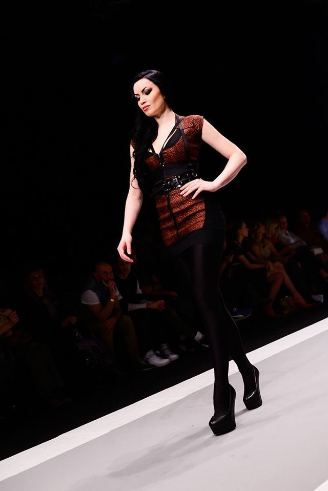 Oxblood reptile dress @ Belgrade Fashion Week