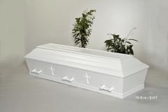 Kiste, hvid m. let buet låg og kors nr. 15 K