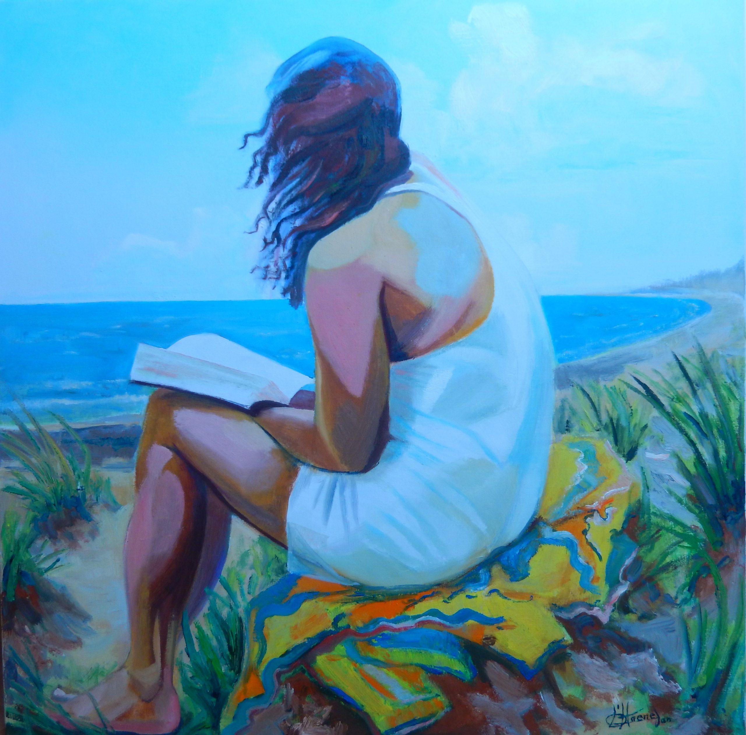 791 meisje met boek aan zee