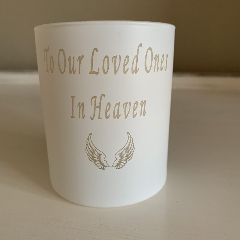 Personalised candle angel wings