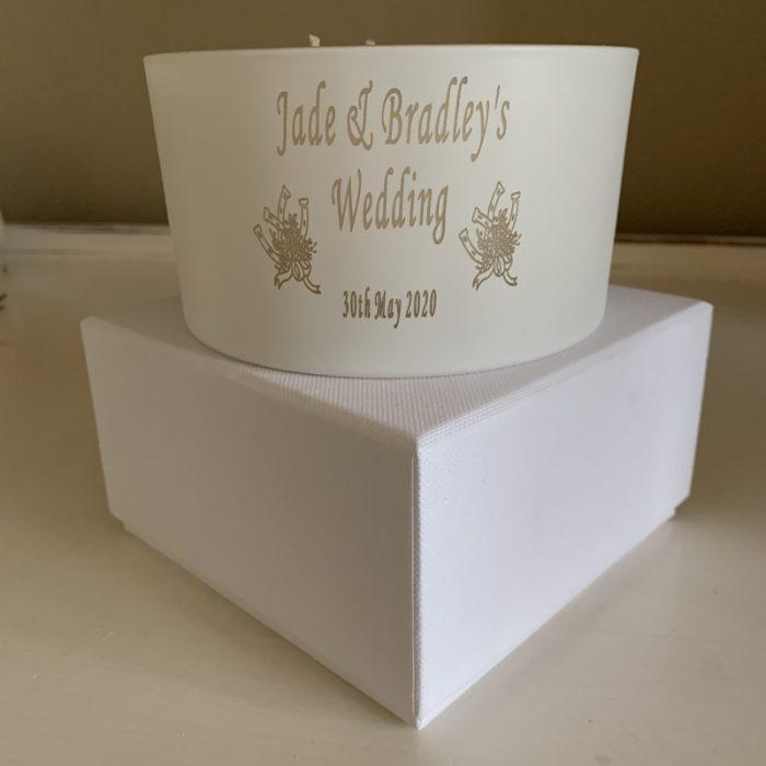 Personalised candle wedding