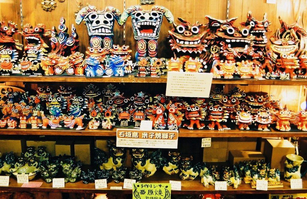 Shisa Löwen-Figuren Okinawa Naha Schutz vor bösen Mächten