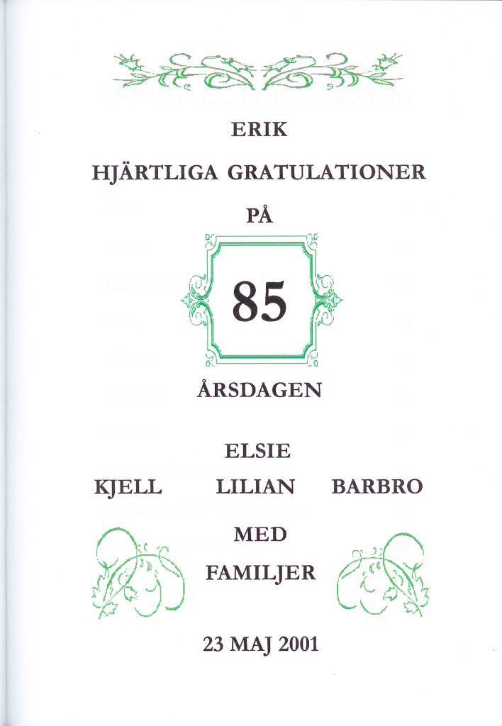 2) Gratulation