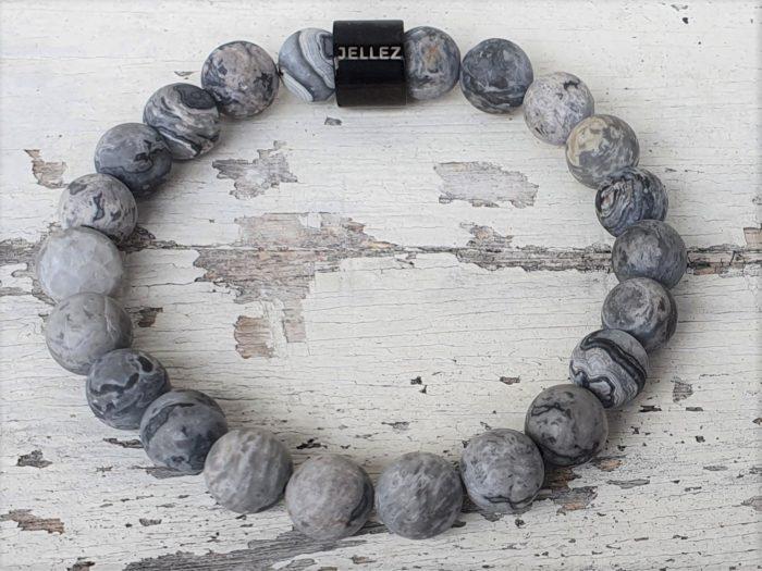 Basis-basic natuurstenen armband (grijs)