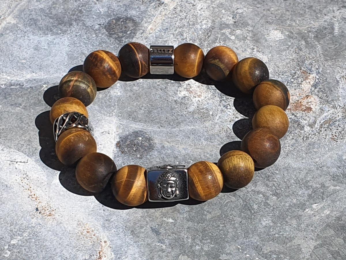 Trendy stoer heren/dames armband (12mm) tiger-eye