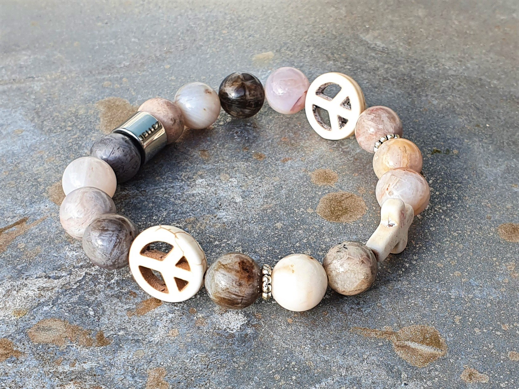 Jaspis natuur- edelstenen kralen armband