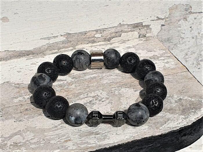 Uniek natuurstenen armband-stainless steel