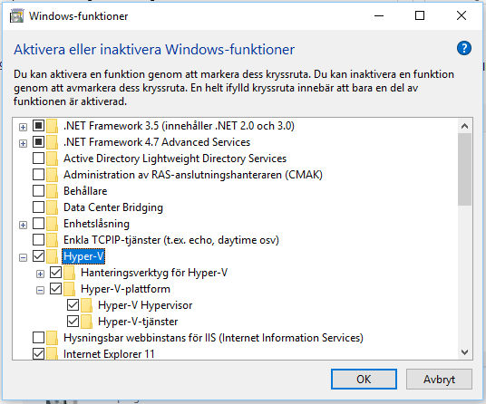 Activate or Deactivate windows-functions - Cannot Enable Hyper-V Service