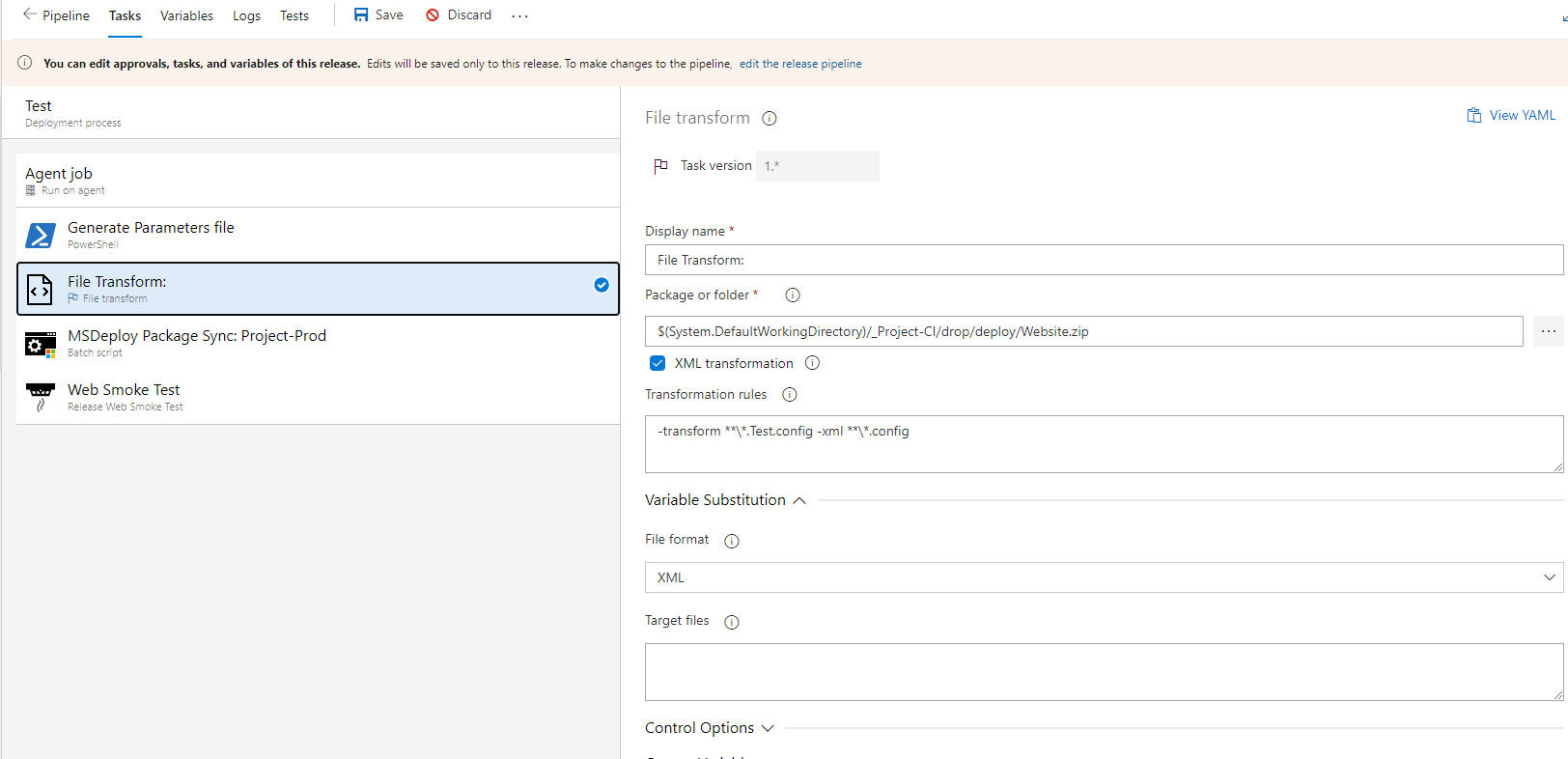 Transform a Web.config file in Azure Devops - -transform **\*.Test.config -xml **\*.config