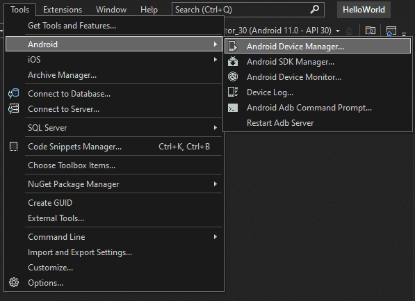 Find Android device manager in Visual Studio