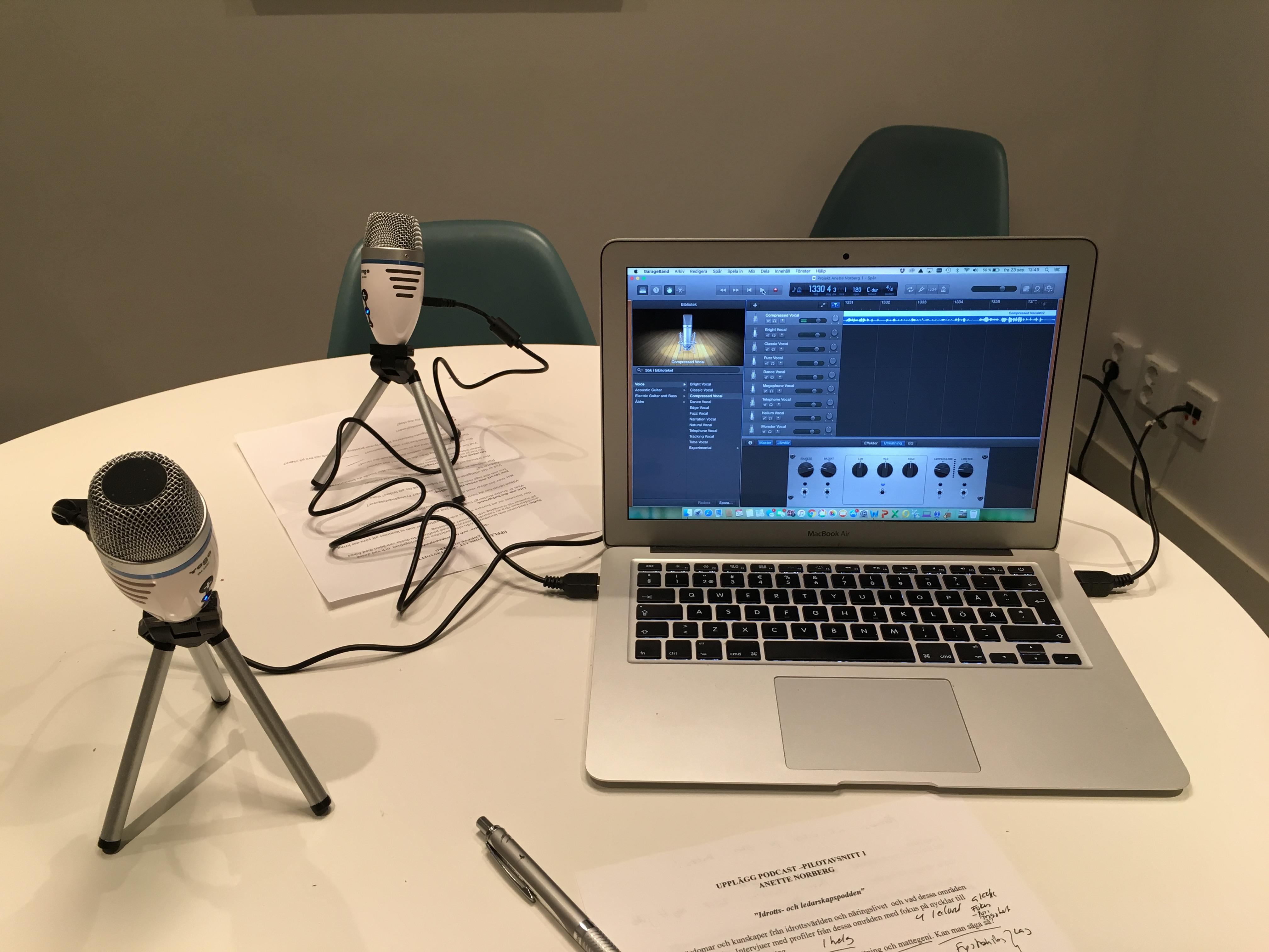 Podcast utrustning