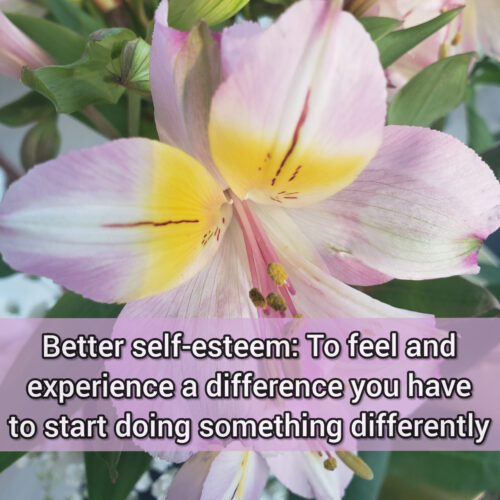 Better self-esteem: To experience a difference you have to start doing something differently