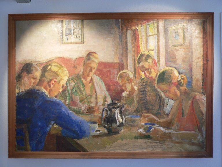 Familien Jensen i søndagsstemning, Maleri af Fritz Syberg
