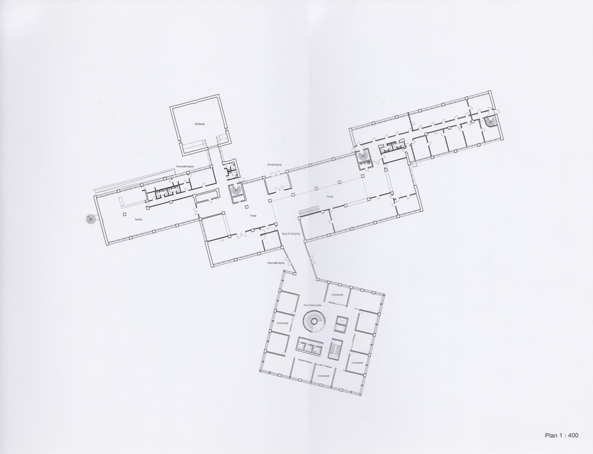 Plan af Tønder rådhus, eksisterende hus og tilbygning