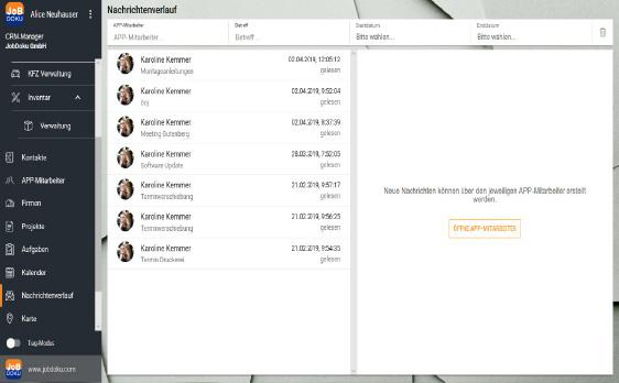 Jobdoku - app - Integrierte Zusatzfeatures