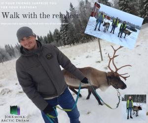 3 boys walking with reindeer