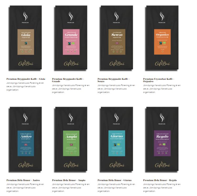 Olika sorters kaffe i påsar