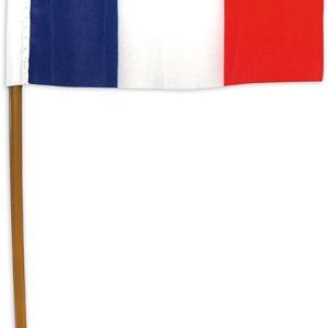 DRAPEAU FRANCE AVEC MANCHE PLASTIQUE 10 X 15 CMS