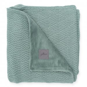 Wieg deken river knit green fleece 4 seizoenen 75×100 Jollein