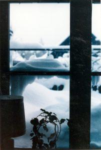 Vardagsrumsfönstret ut mot baksidan och altanen