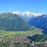 View of Interlaken seen from the Harder Kulm with Eiger, Moench and Jungfrau