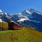 The Jungfrau Railway train on its way to the Jungfraujoch - Top of Europe