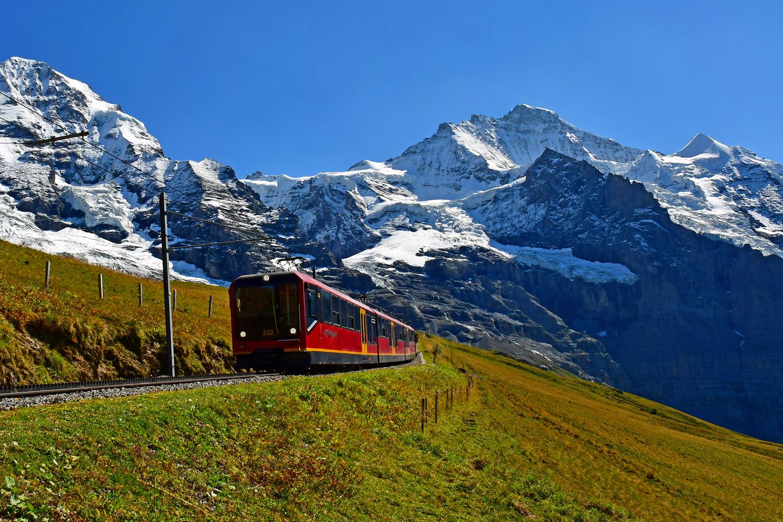 The Jungfrau Railway train on its way to the Jungfraujoch-Top of Europe