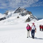 hikers on the glacier on Jungfraujoch-Top of Europe
