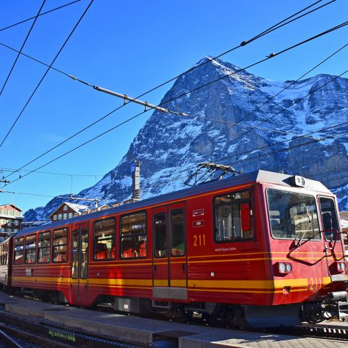 jungfraubahn on kleine scheidegg with eiger Jungfraujoch-Top of Europe