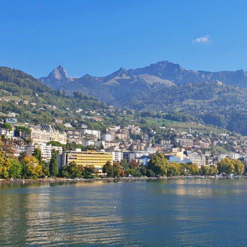 montreux on lake geneva shore and Rochers de Naye