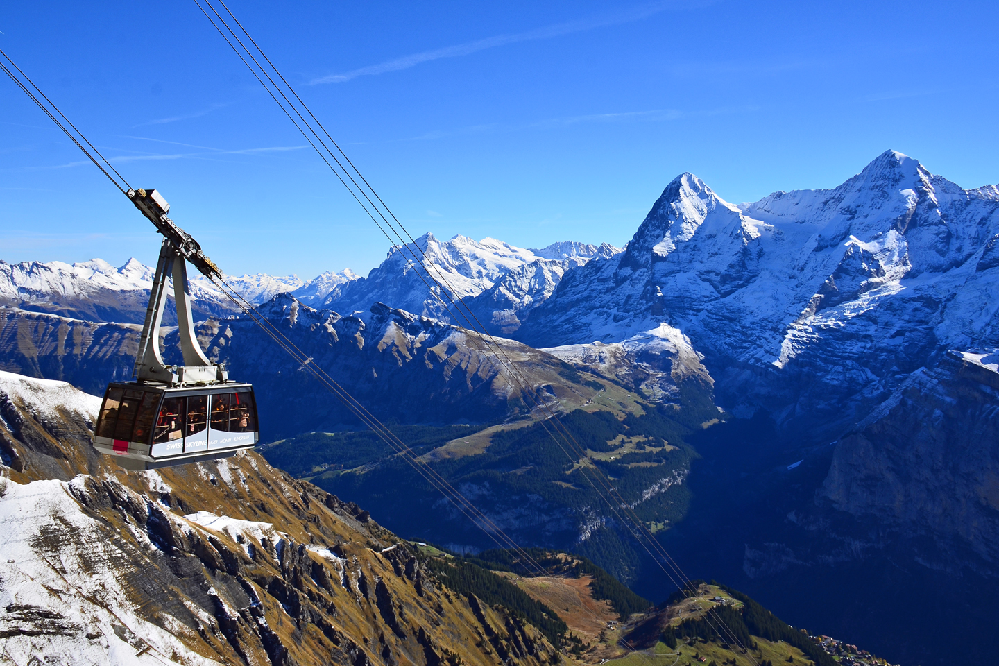 Schilthorn cable car with mountains