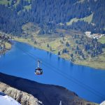 Titlis cable car over a lake and glacier