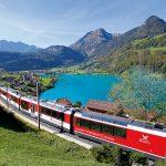 Luzern Interlaken Express passing Lake Lungern