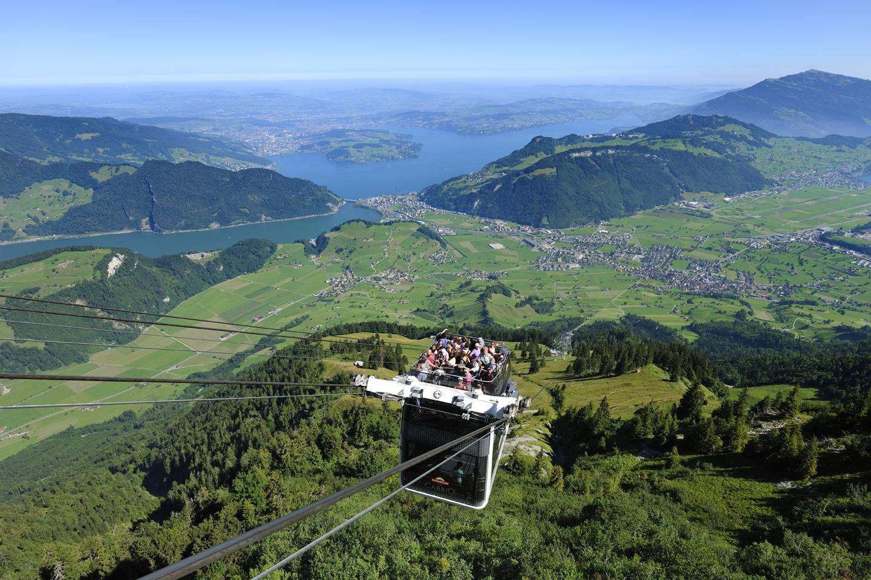 High over Lake Lucerne the Stanserhorn CabriO Luzern