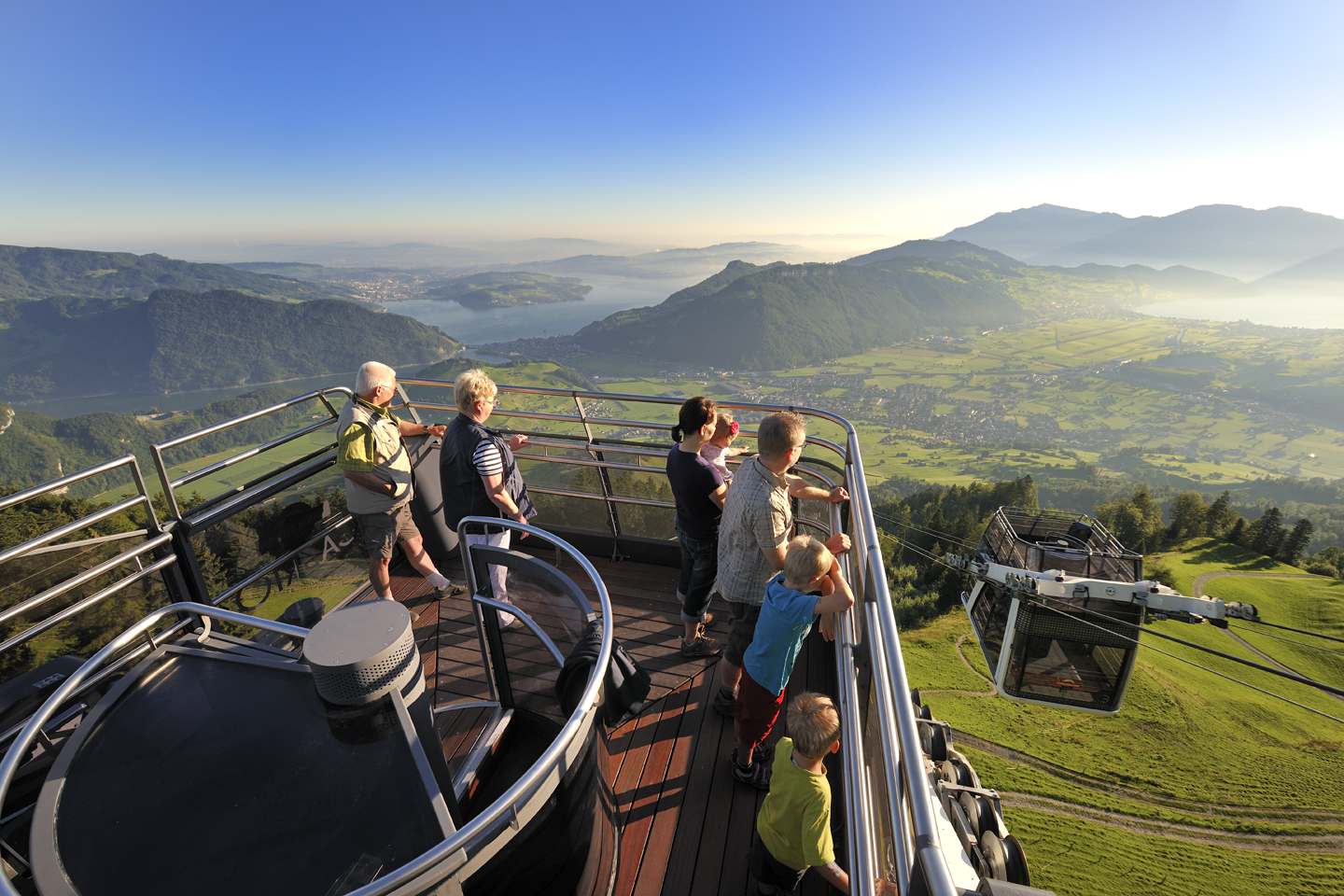 On the upper deck of the Stanserhorn CabriO