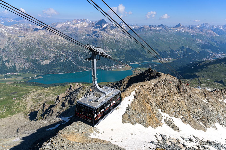 Corvatsch gondola and upper Engadin lakes