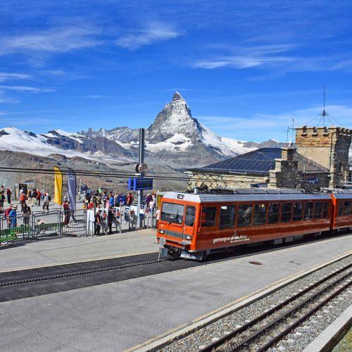 The Gornergrat summit station with the Matterhorn