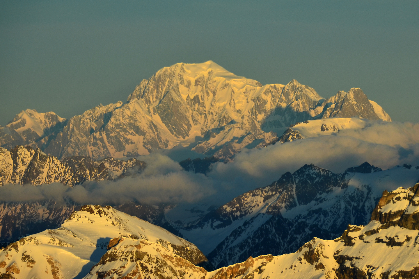 Mont Blanc seen from the summit of the Matterhorn Glacier Paradise
